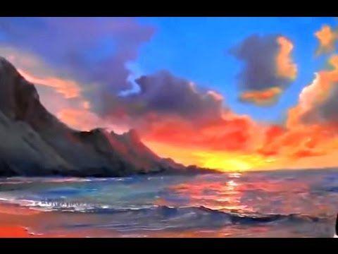 peindre coucher soleil sur la mer didacticiel vid o complet sur la peinture paysage marin l. Black Bedroom Furniture Sets. Home Design Ideas
