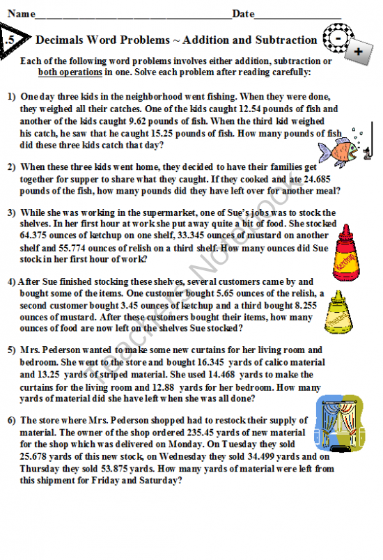 Decimals Word Problems Addition and Subtraction from DayWorks on – Multiplying Decimals Word Problems Worksheet