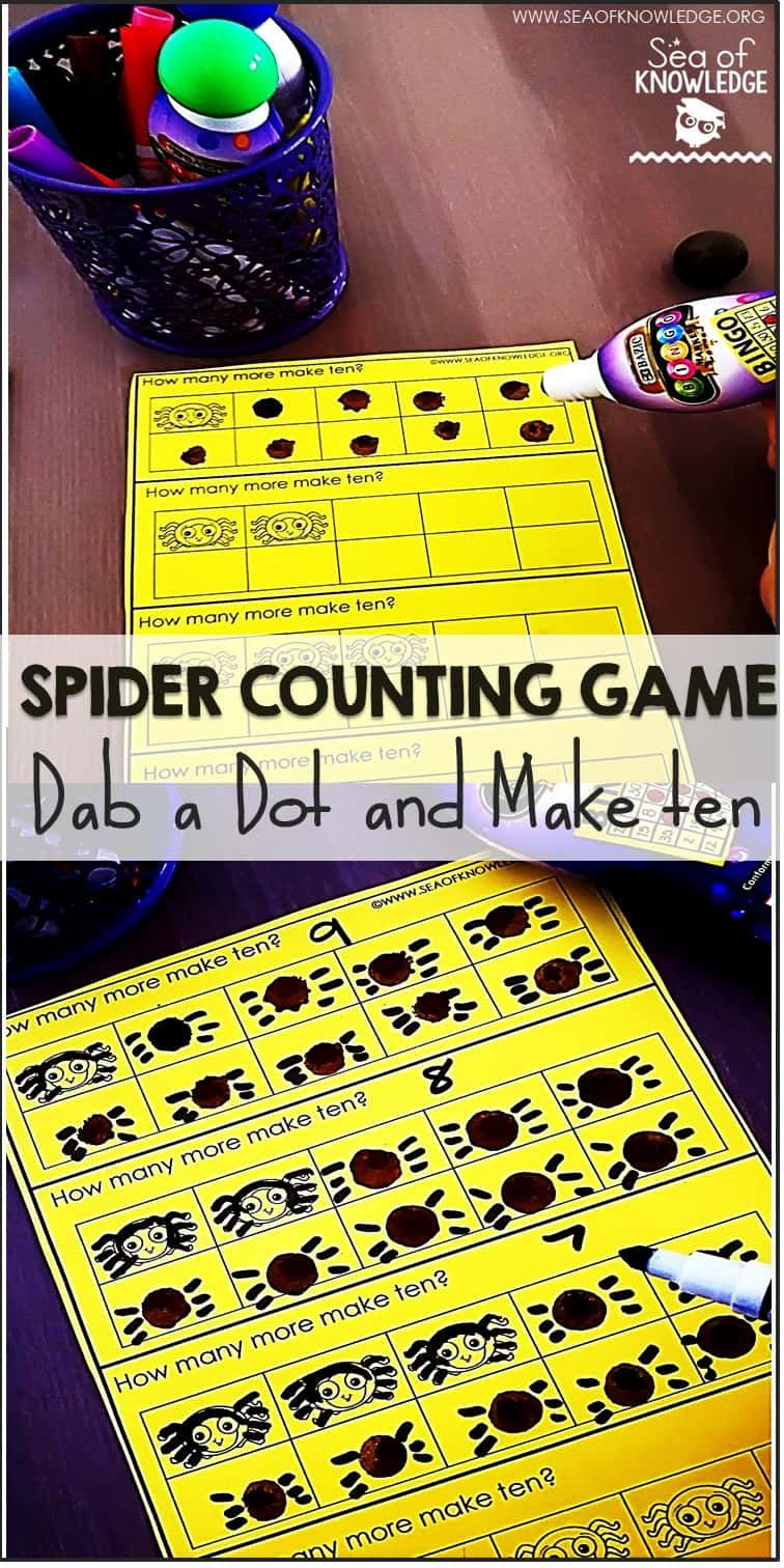 Spider Counting Game Make 10 (With images) Number sense