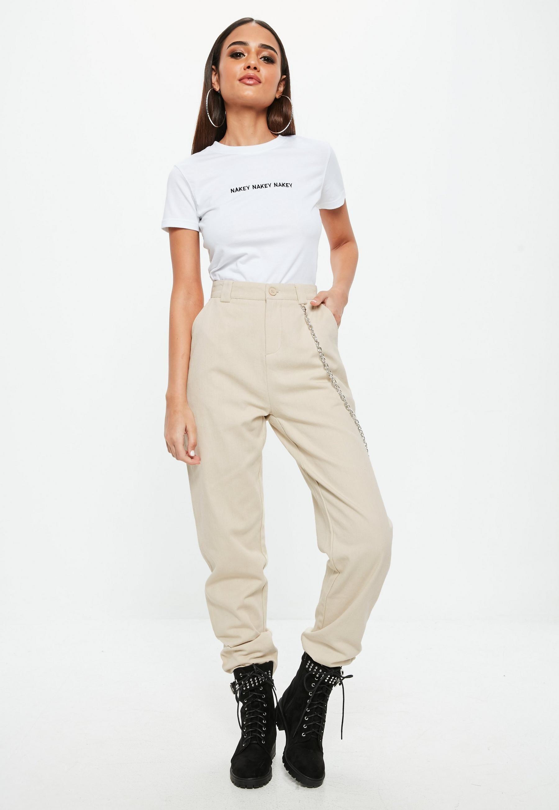 23fae2dc Petite Beige Chain Detail Cargo Trousers | Missguided Australia ...