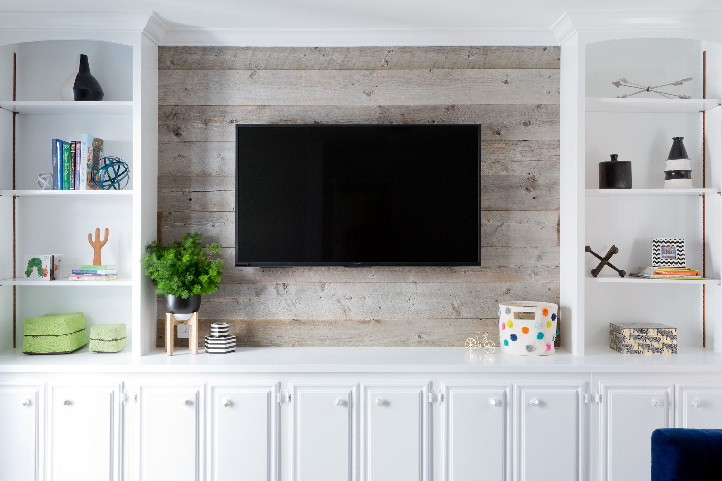Blackband Design Living Room Built Ins Barn Board Wall B