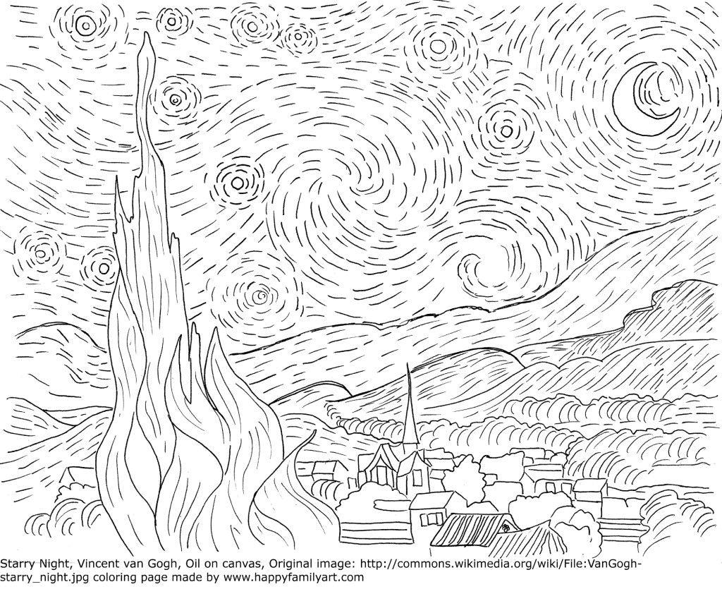 Vangoghstarrynightmedium Happy Family Art Van Gogh Coloring Famous Art Coloring Starry Night Van Gogh