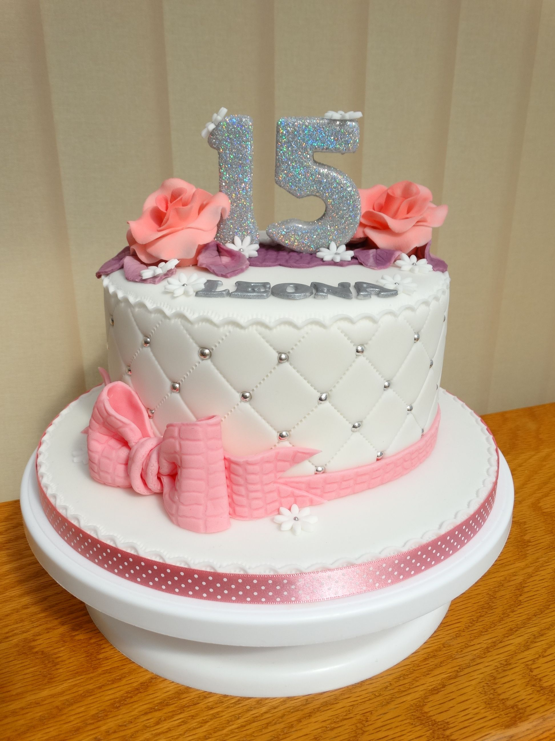 Fine 15Th Birthday Pink White Cake Xmcx Birthday Cake Kids Cake Birthday Cards Printable Riciscafe Filternl