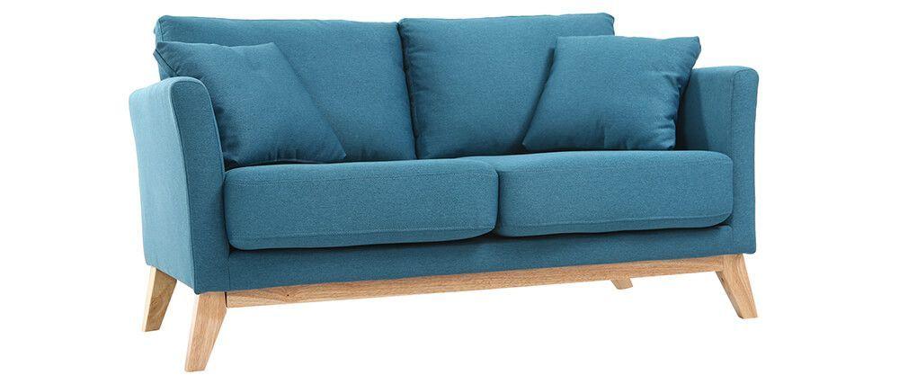 Canapé scandinave 2 places bleu canard déhoussable et pieds bois