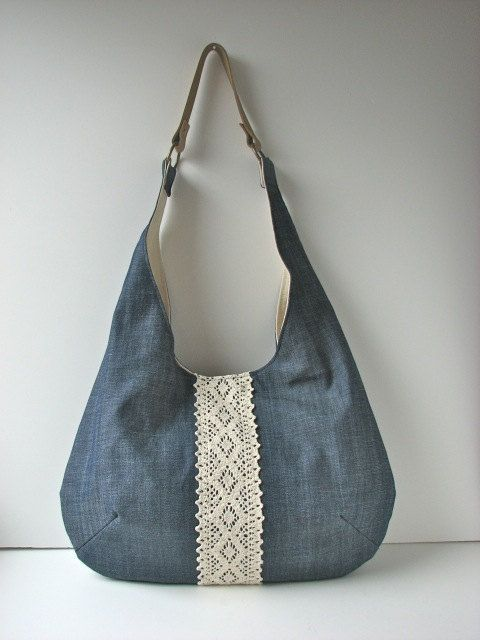 Slouchy Hobo Bag in Navy Blue Denim with Ivory Lace and Suede ...