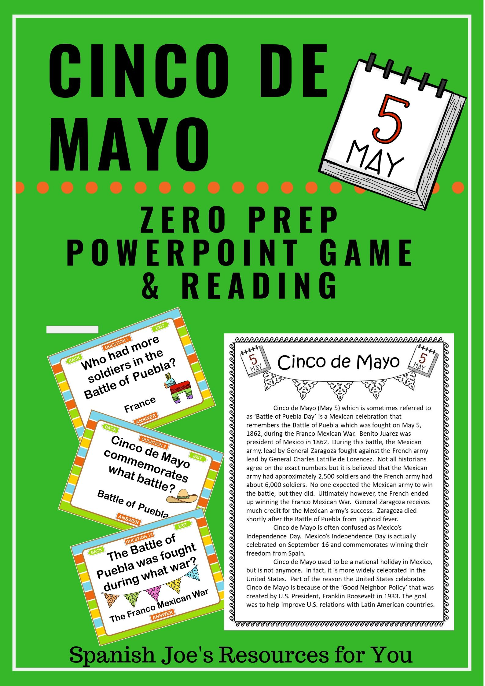 Cinco De Mayo Game Amp Cultural Reading