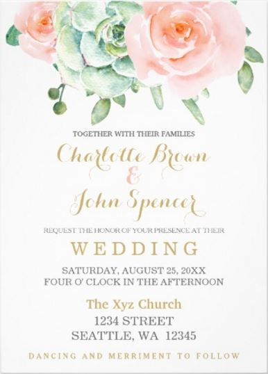 Watercolor succulent and peach roses wedding invitation - Rustic Watercolor Succulent  Wedding Invitations - pink and green #rusticwedding