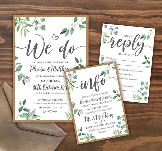 Print Your Own Wedding Invitation: PRINTABLE Leafy Wedding Invitation PDFs, Custom Designed