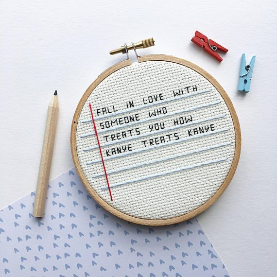 Photo of Items similar to kanye west cross stitch – funny embroidery – hoop art on etsy