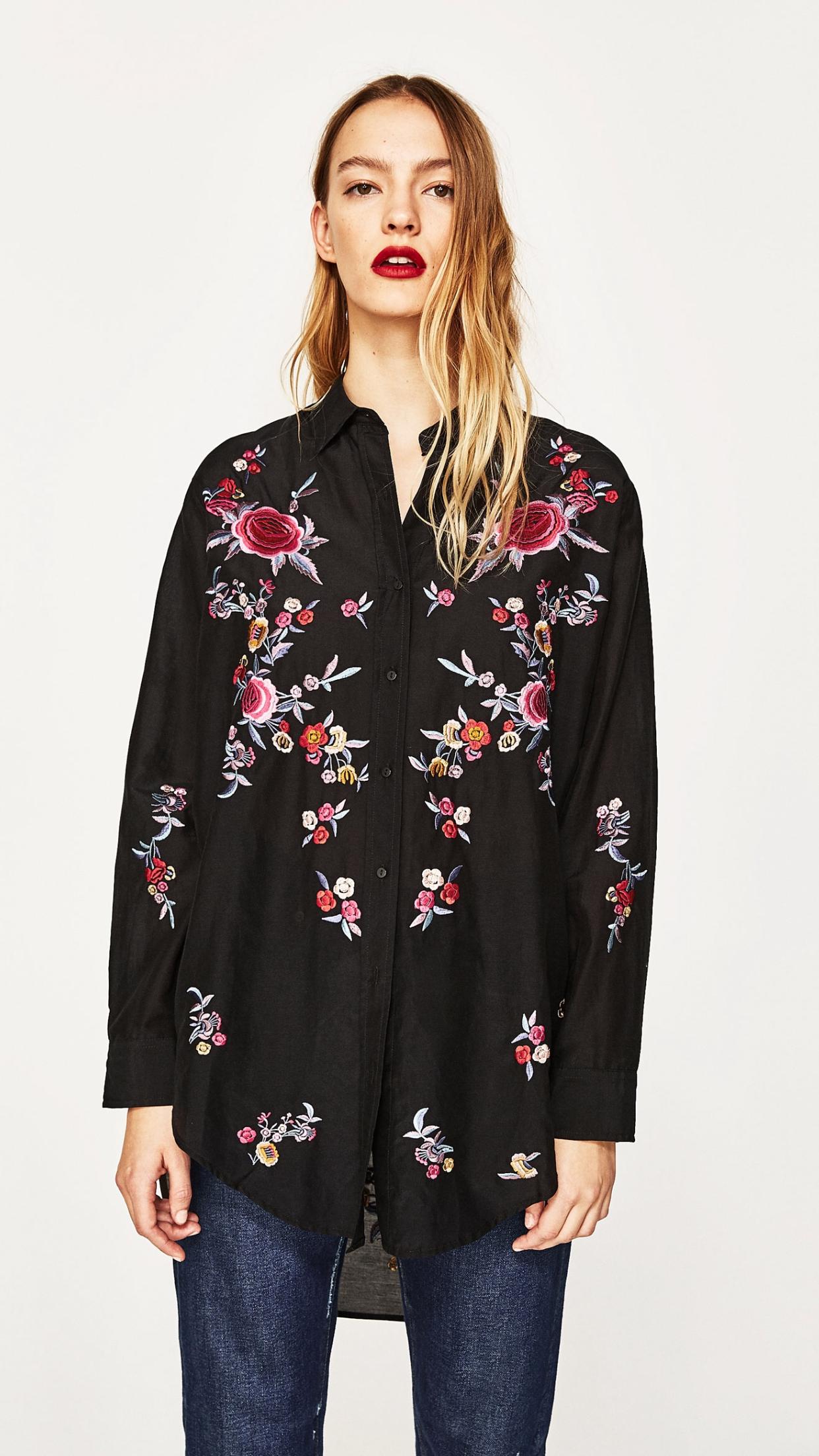 3285e2e5f3710 Zara black embroidered shirt | Mesion in 2019 | Oberteile, Oberteile ...