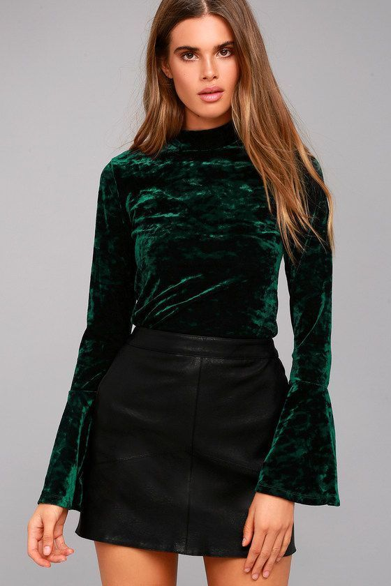 b6687e5f6c3e35 Lost + Wander Victoria Forest Green Velvet Long Sleeve Top | My ...