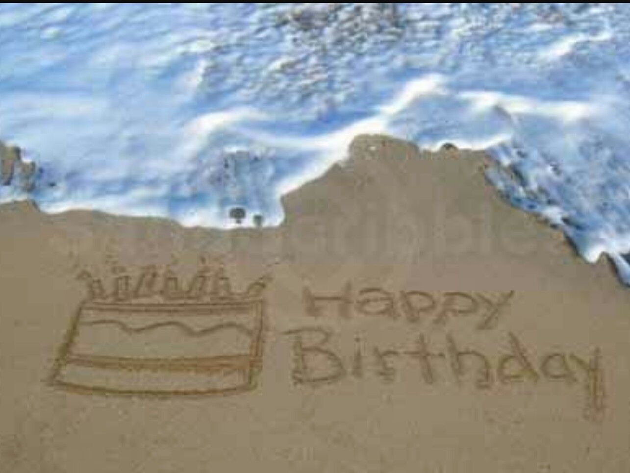 Hbd Beach Sand Water Hy Birthday Wishes Banners