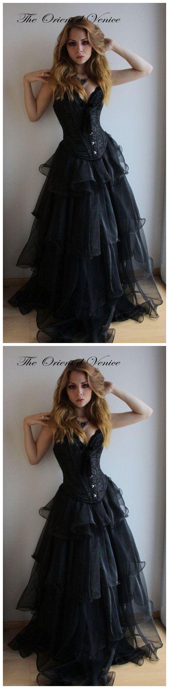 Elegant prom dressesblack gothic corset prom dresses sweetheart
