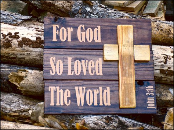 Rustic Wood Wall Decoration. John 3:16 Wooden Sign by forthecabin