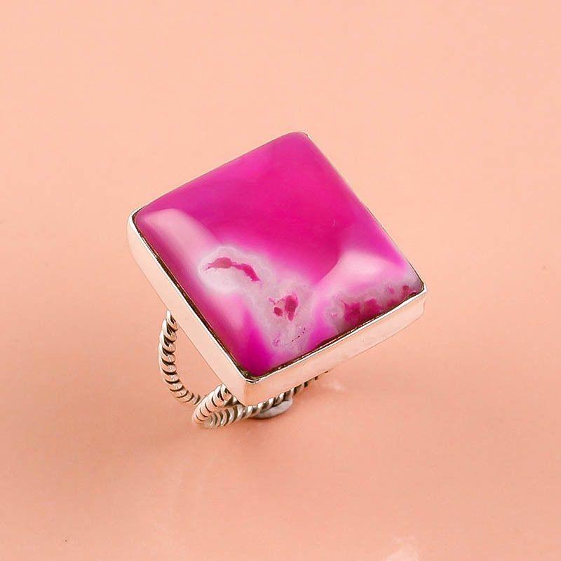 925 Sterling Silver Ring Sz US 9.5, Pink Jade Gemstone Handmade Jewelry 12.9 gm #Modern