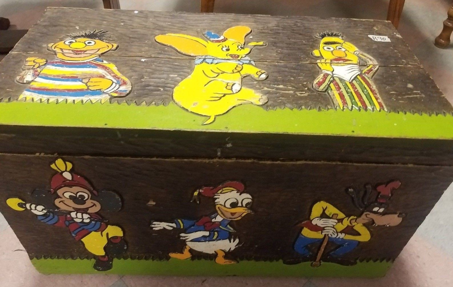 Ooak Vintage Hand Carved Painted Wood Toy Chest Snoopy Disney Sesame Street Wood Toy Chest Toy Chest Wood Toys