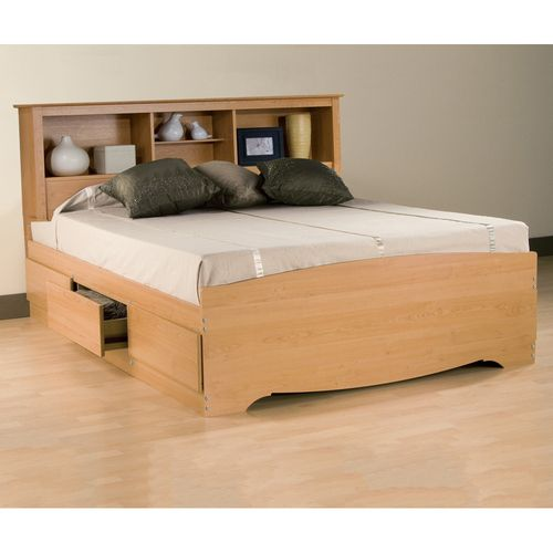 Sonoma Storage Platform Bed W Bookcase Headboard By Prepac