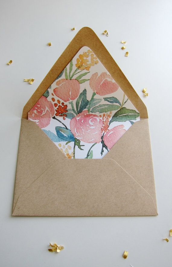 Floral Printable Envelope Liner Watercolor Floral Envelope Etsy Floral Envelope Liner Envelope Liner Template Wedding Invitations Diy