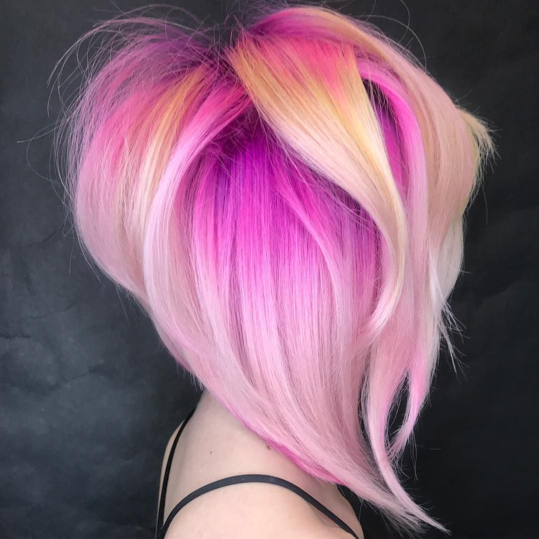 Finger blonde with black and pink highlights