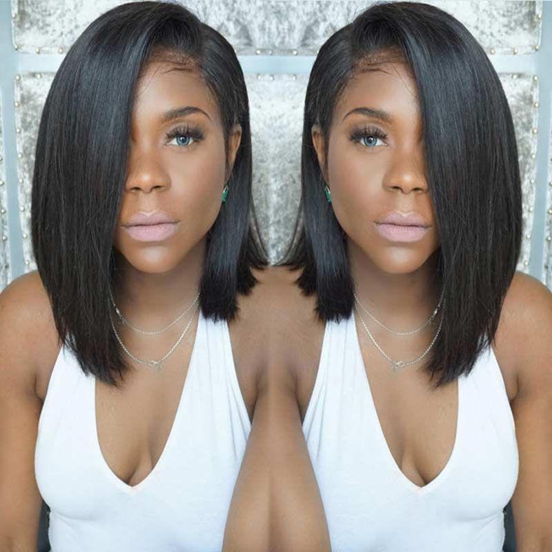 Pelucas sintéticas para Las Mujeres Negras Corto Negro Peluca Sintética Recta Corta Peluca Pelucas Baratas Para Las Mujeres