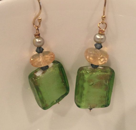 Antique Murano Glass Citrine Fresh Water Pearls by LaSireneDesigns