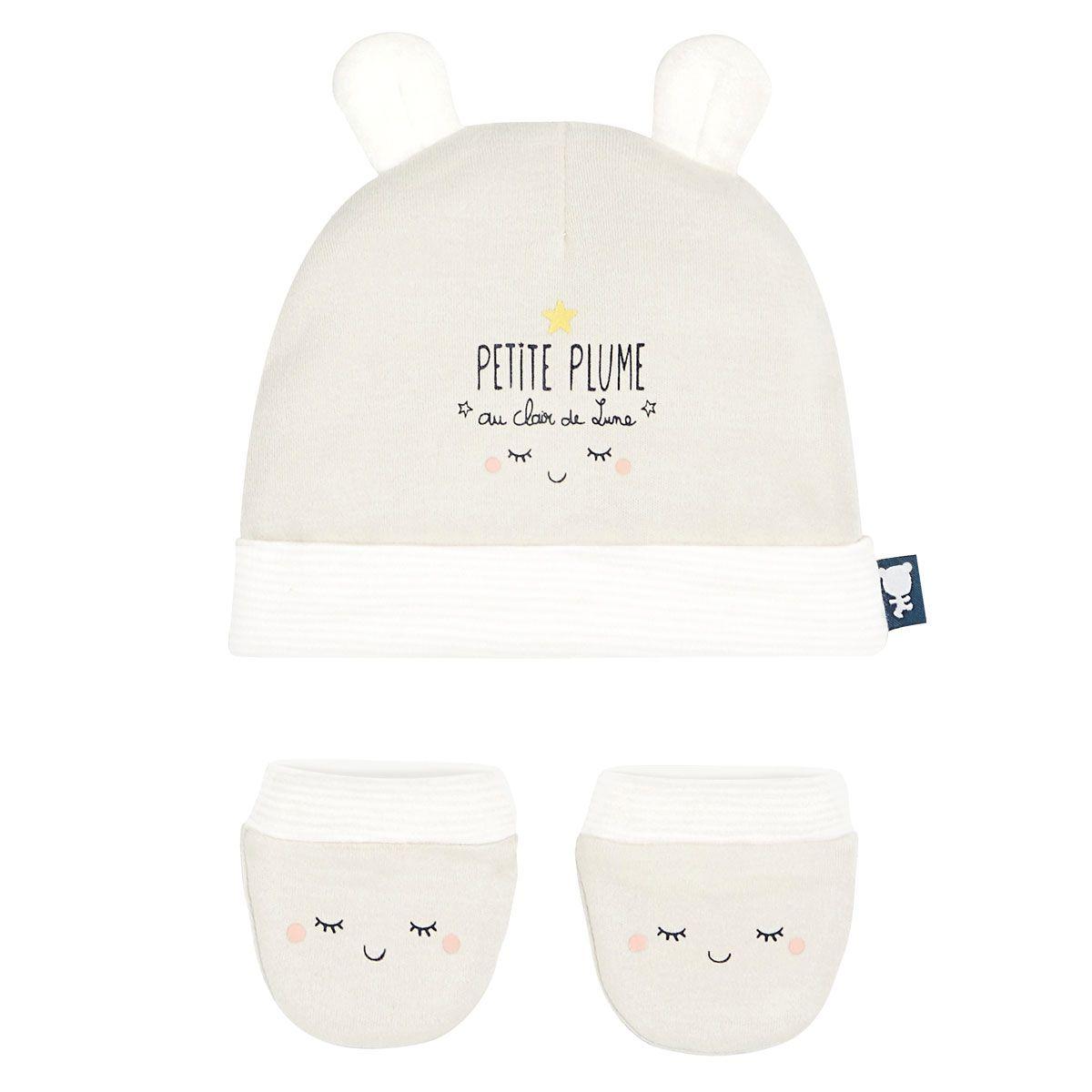 Bonnet + moufles anti griffures bébé mixte Petite Plume