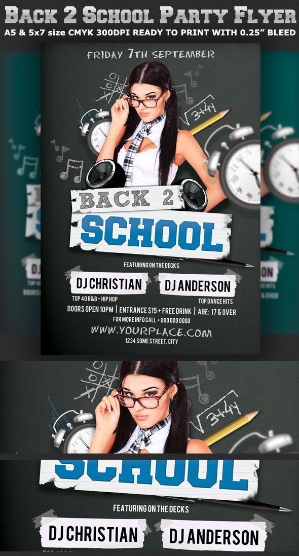 Back To School Party Flyer Template V2 By Christos Andronicou Via