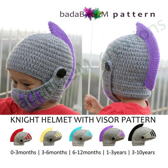 ce23390b Pdf Crochet PATTERN Children Knight Hat RolePlay Crocheted Knight Helmet Hat  with Visor Pattern