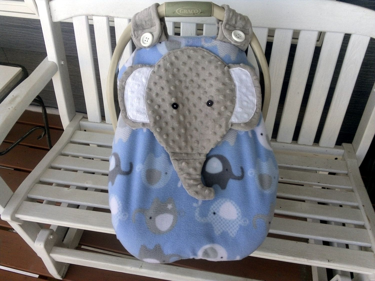 Baby bed like car seat - Made To Order Boy S Fitted Fleece Elephant Car Seat Canopy With Peek A Boo Opening Don T Like This I Can Make One You Do Like