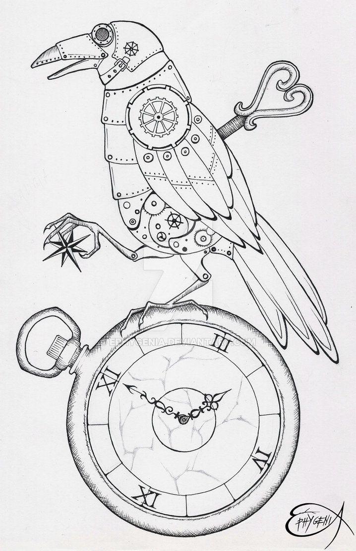 Steampunk coloring page steampunk clockwork raven wip by ephygenia deviantart com on deviantart