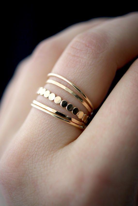 Photo of Gold bar stacking ring set of medium thickness, gold stacking ring, gold ring set, gold filling set, delicate gold ring, pearl ring, set of 5