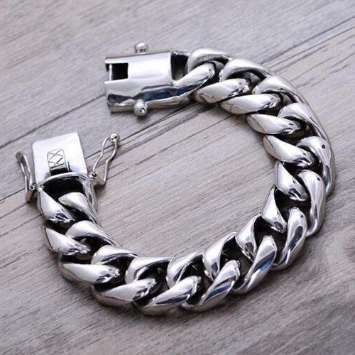 Men S Sterling Silver Heavy Curb Chain Bracelet