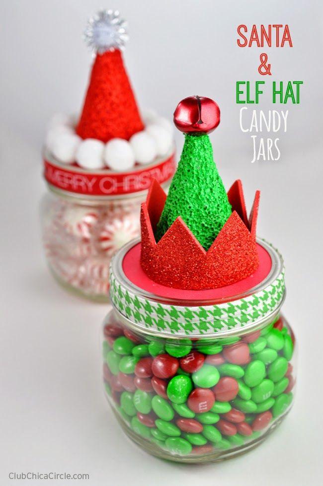 santa elf candy jars