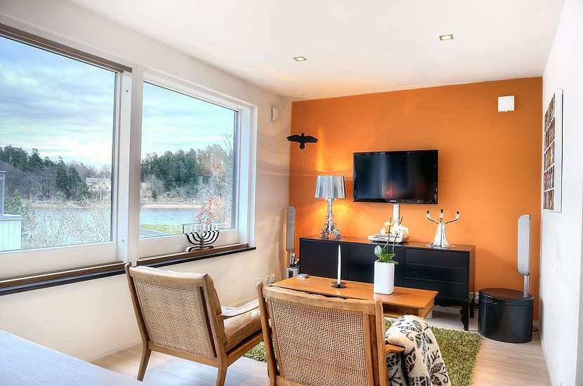 Bright Small Living Room With Orange Wall Bright Small