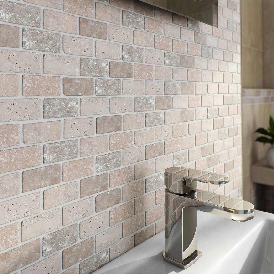 Mosaic brick style wall tiles set the perfect scene for for Feature wall tile ideas