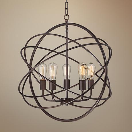 Ellery 24 3 4 Wide 5 Light Bronze Sphere Foyer Pendant 8g444
