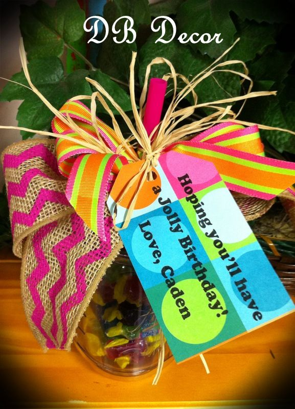 A Simple Gift Idea For Birthday Or Teacher Appreciation Mason Jar With Straw From Walmart Jolly Ranchers Ribbon And TagHoping Youll Have