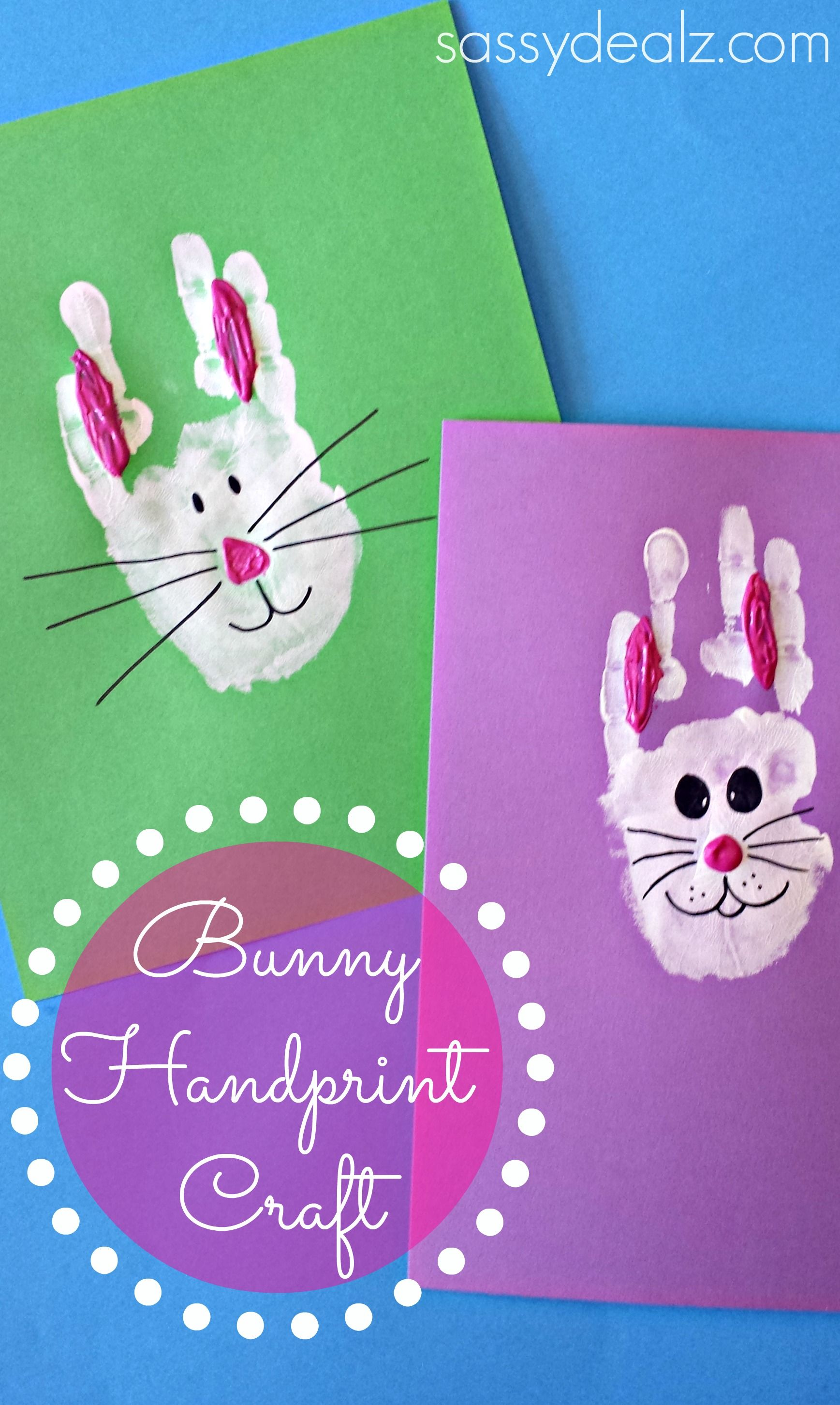 Wonderful Ideas For Making Easter Cards Part - 14: Bunny Rabbit Handprint Craft For Kids (Easter Idea) - Sassy Dealz Bunny  Rabbit Handprint Craft For Kids (Easter Idea) If You Enjoy Arts And Crafts  Youu0027ll ...
