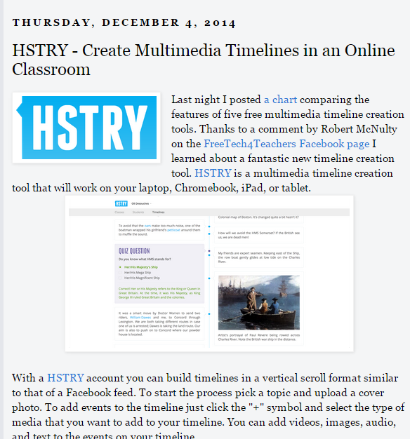 Review of Hstry on Free Technology for Teachers