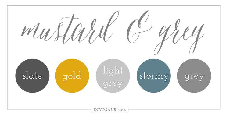 Mustard Grey Color Palette Dinosaur Stew Yellow
