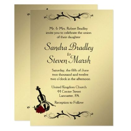Violin Music Wedding Invitation 5 - invitation card event