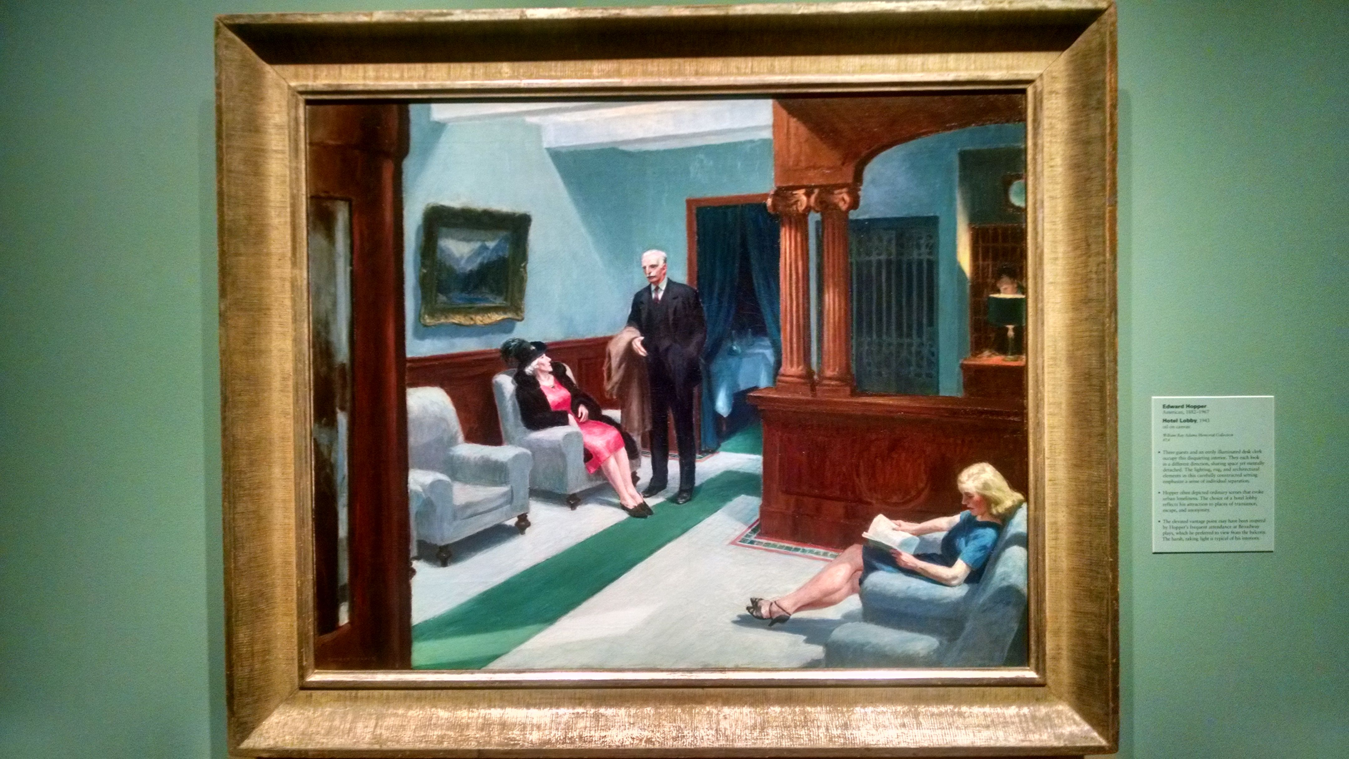Hotel Lobby - Edward Hopper - 1943 On display at the Indianapolis ...