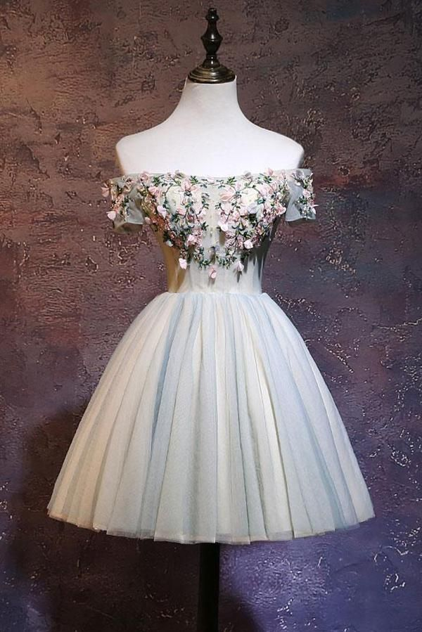 Cute Off the Shoulder Tulle Homecoming Dress, Light Green Short Prom Dress with Flowers N897 #promdresses