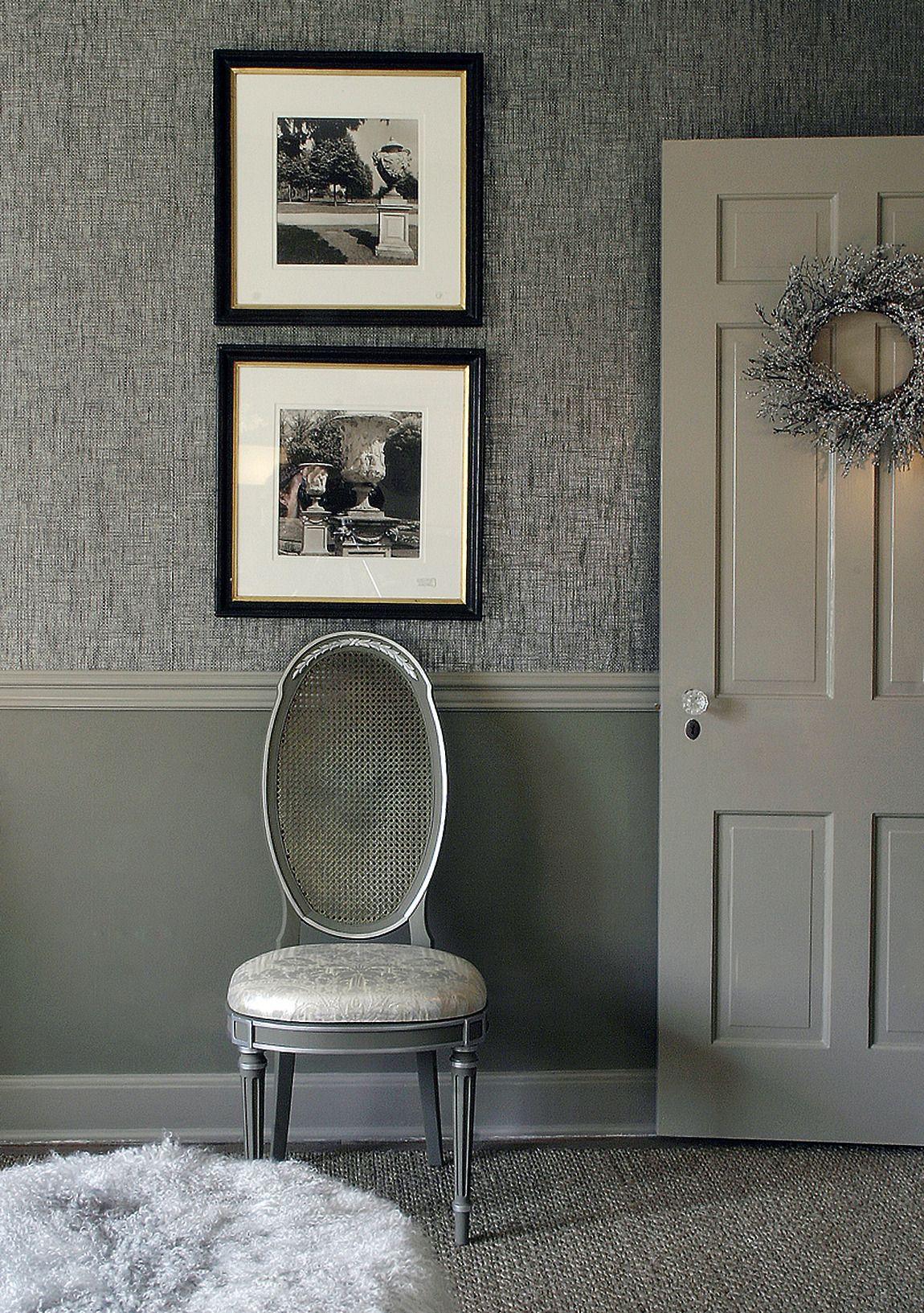 Marvelous Chair Rail Wallpaper Part - 4: Painted Under Chair Rail, Wallpaper
