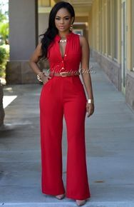Crystal Cherry Red Belted Jumpsuit