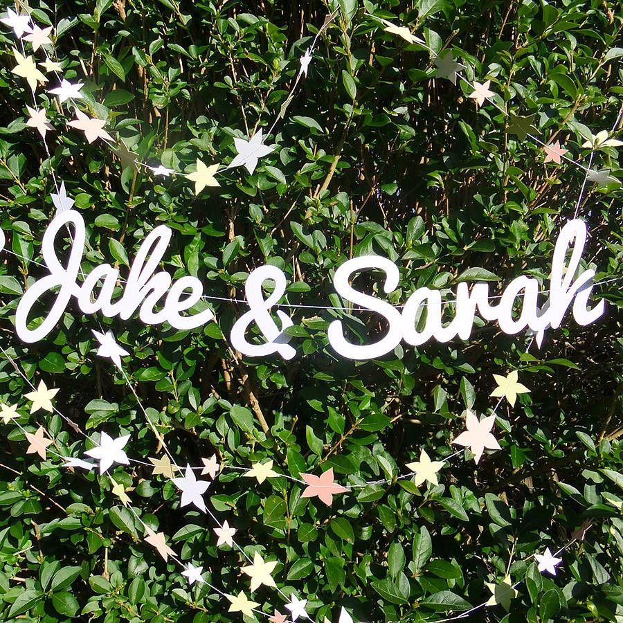 Personalised Names Wedding Paper Garland By Funky Frills Uk Notonthehighstreet