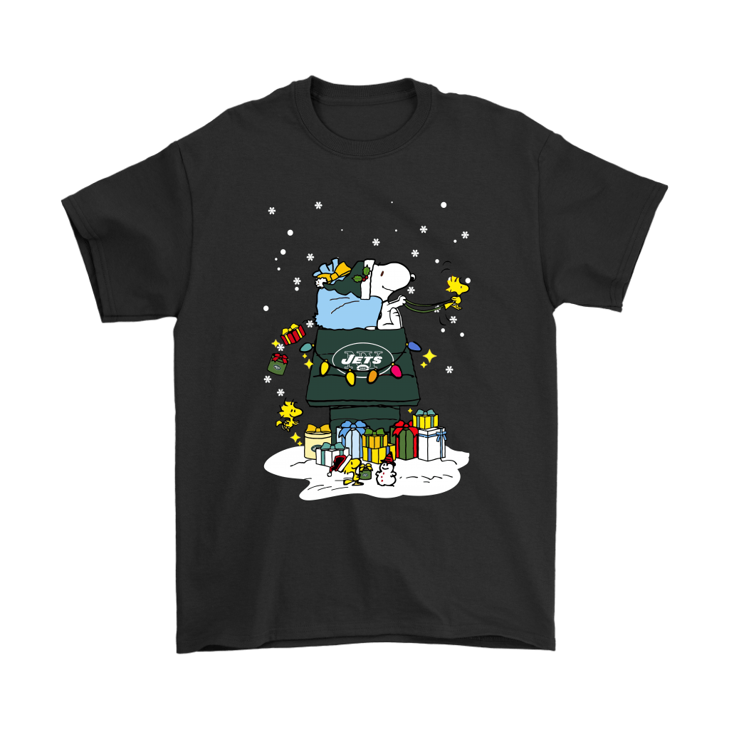 New York Jets Santa Snoopy Brings Christmas To Town Shirts - Geek Tarven   Christmas Snoopy shirt w