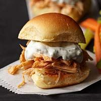 Low Calorie Buffalo Chicken Sliders - SO GOOD! We substituted plain Greek yogurt mixed with ranch seasoning instead of the blue cheese.