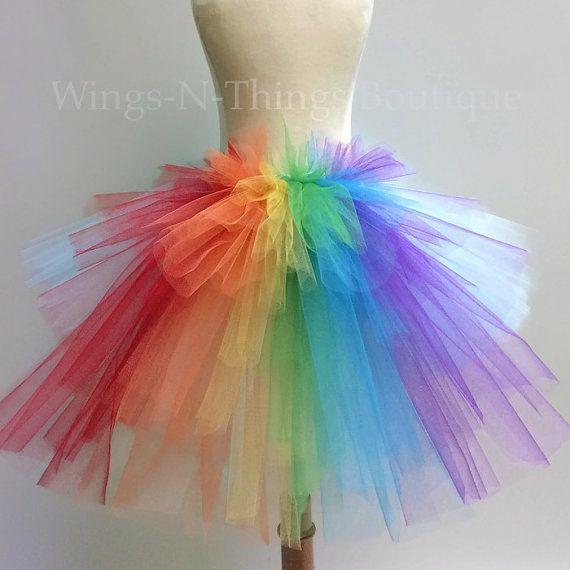 cea7f9c20 ADULT RAINBOW TUTU Skirt with bustle tail Dash Unicorn   Halloween ...