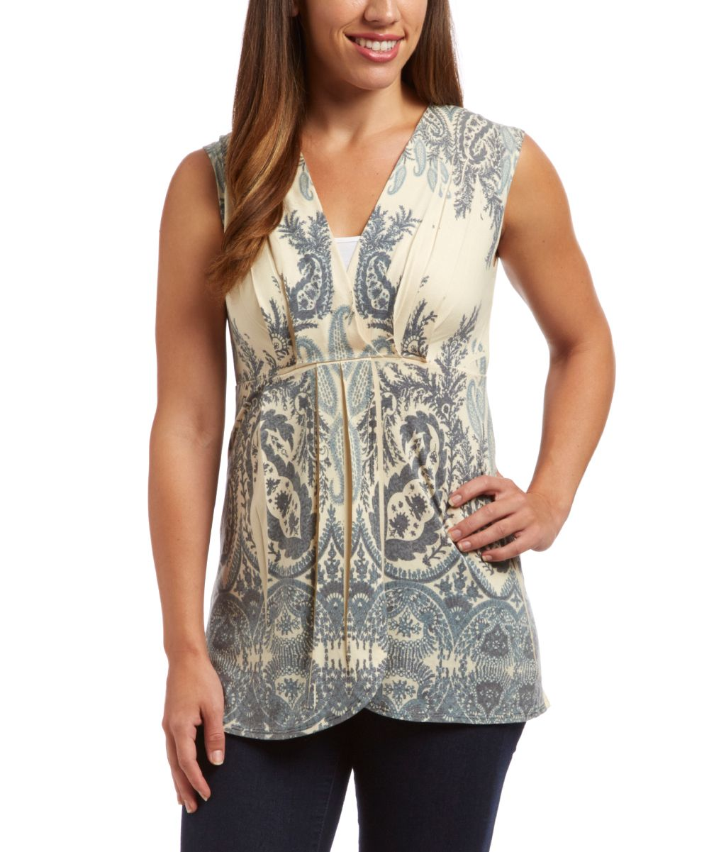 Yellow Paisley Empire-Waist Tank